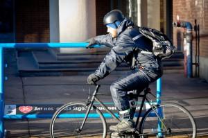 Baranda de apoyo ciclista en operación