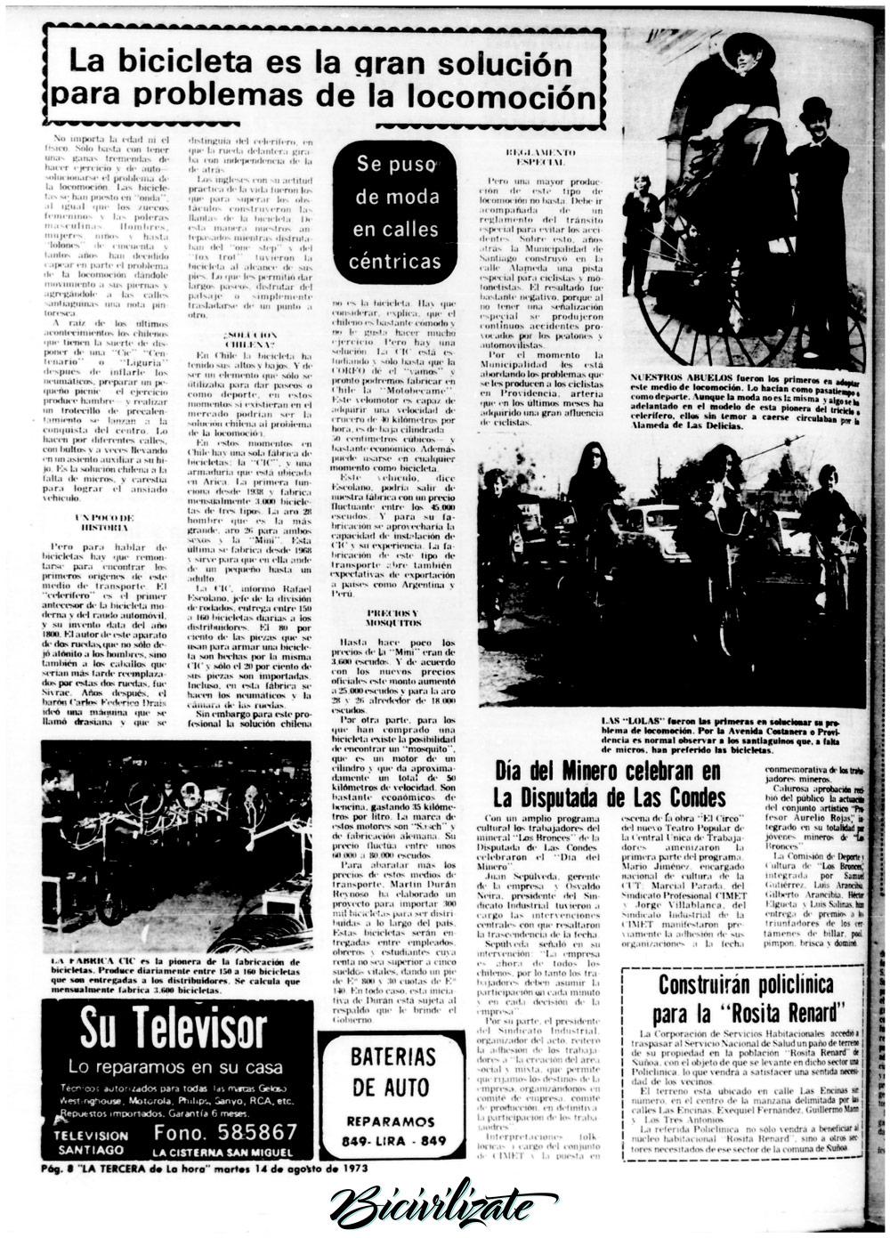 """La Tercera de la Hora, 1973: """"La bicicleta es la gran solución para problemas de la locomoción"""""""